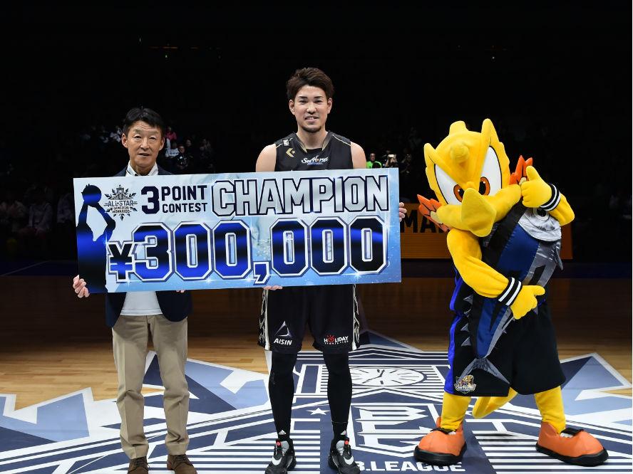 Bリーグオールスター、3ポイントシュートコンテストは金丸晃輔が2連覇達成「後で折茂さんに謝っておきます」