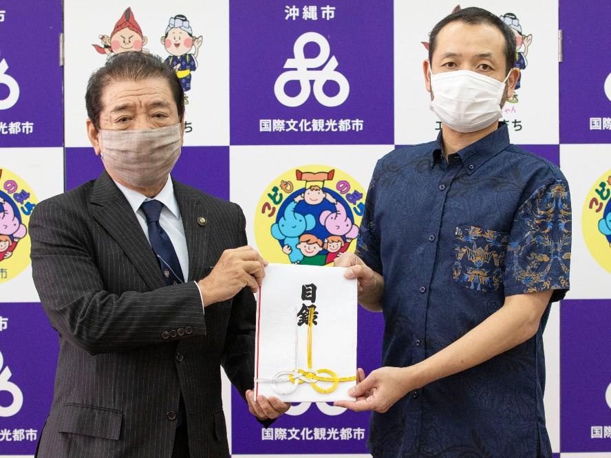 琉球ゴールデンキングスがホームタウン沖縄市に寄付金を贈呈「このような状況だからこそ恩返しを」
